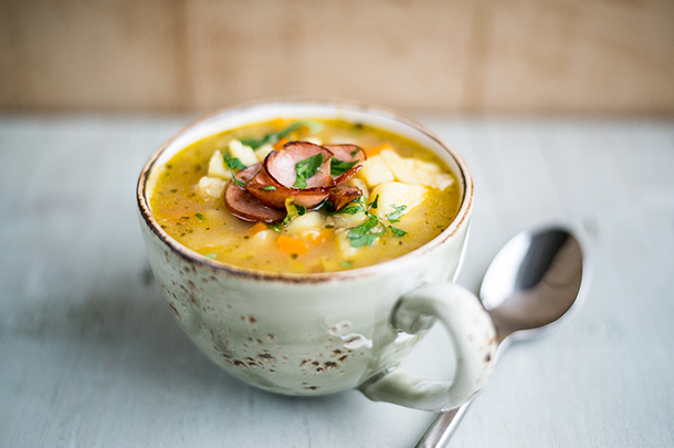 Rezept für German potato soup/Kartoffelsuppe